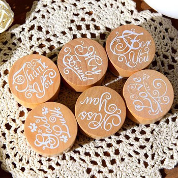 6 pcs/lot DIY Blessing Vintage Wooden Rubber Stamp Thank You Miss You Love Stamps for Decoration Scrapbooking 608