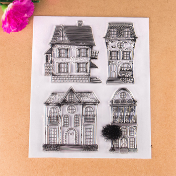 New Scrapbook DIY Photo Album Cards Transparent Acrylic Silicone Rubber Clear Stamps Sheet House
