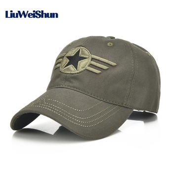 LWS] Quality Army 3D Star Emboidery Baseball Caps Women and Men Summer Outdoor Cotton Peaked Sun Hats Tactical Snapback Gorras