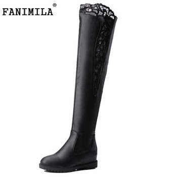 New Fashion Woman Round Toe Over Knee Boots Women Fashion Lace Winter Boot Ladies Brand Zipper Footwear Shoes Size 34-43