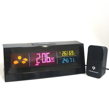 New Cube shaped wireless weather station clock IN/Outdoor thermometer hygrometer with remote sensor RF 433mhz