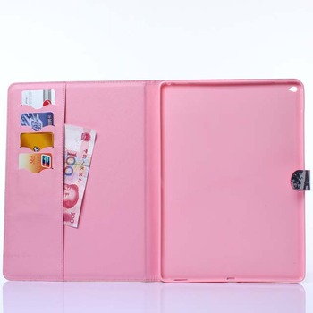 Fashion Cute Owl flower Eiffel Tower wallet card PU Leather stand holder cover Case for Apple ipad pro 12.9 inch with pen