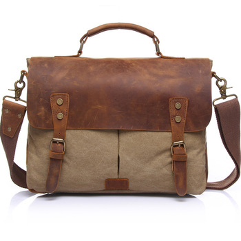 England Style Genuine Cow Leather Men's Messenger Bags Vintage Fashion Briefcases Tote Bag Large Capacity Canvas Bag