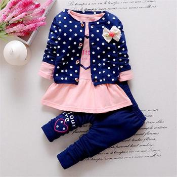 2017 New Baby Girl clothing Sets kids 3PCS coat+ T shirt + Pants children Cute Princess Heart-shaped Print Bow baby girl outfits