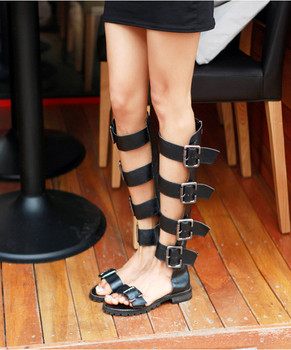 Punk Style Gladiator Sandal Boots Women Long Boots Buckle Strap Hollow Out Botas Mujer Flat Heels Summer Leisure Shoes for Woman