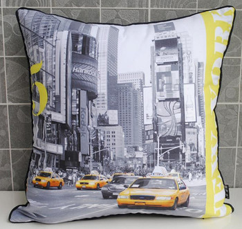 Retro Modern Yellow US New York Taxi Photo Decorative Pillow Case Cushion Cover