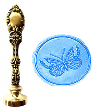 Vintage Butterfly Custom Picture Logo Luxury Wax Seal Sealing Stamp Brass Peacock Metal Handle Gift Set