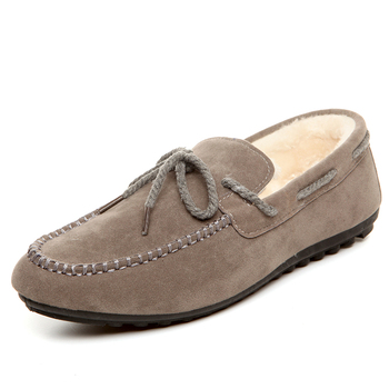 2017 Autumn Winter Leisure Man Flats Nubuck Leather Slip-on Soft Plush Shoes Khaki Red Knot Loafers Working Flat Peas Boat Shoes