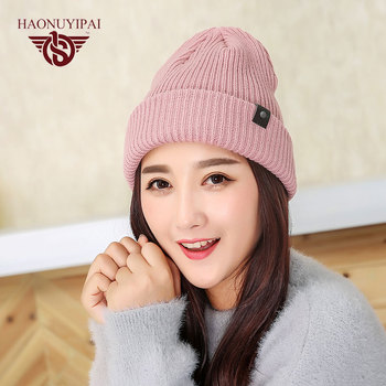 Fashion Warm Autumn Winter Knitted Hats For Unisex Stripes Solid Color Skullies Beanies Adult Leisure Sport Cap 3 Colors ZW039