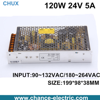 LED driver 24v 5A switching power supply 110-220vac to 24vdc 120W adjustable switching power supply (S-120W-24V)