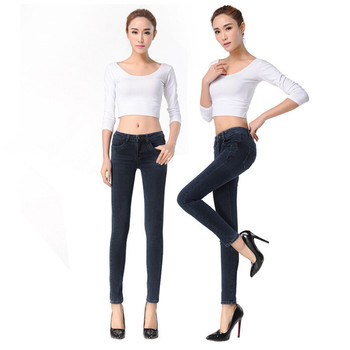 Winter Warm Jeans For Women Mid-Waist Skinny Fleece Inside Denim Pencil Pants Lady Thick Velvet Trousers Black Blue Jeans KZ47-S