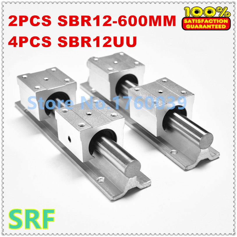 2pcs SBR12 L600mm linear rail shaft supports+4pcs SBR12UU slide block for cnc