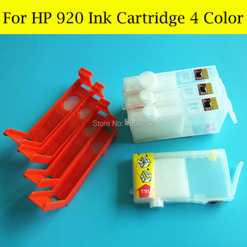 4 Pieces/Lot HP920 Refill Ink Cartridge For HP 920 920XL For HP Officejet 6000/6500/6500/6500A/7000/7500/7500A With ARC Chip