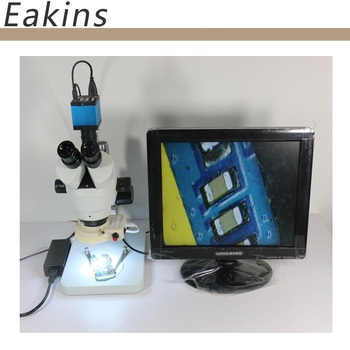 Continuous zoom binocular visual 7-90X Trinocular stereo microscope+14MP HDMI USB Industrial Camera+56 LED light for LAB PCB