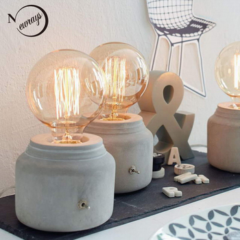 Modern/mini funny grey concrete cement bedside table lamp for bedroom desk lamp e27 / e26 for office living room study room