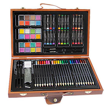 84Pieces Studio Art & Craft Supplies KIDDY COLOR children painting Set in Wood Box -Great Gift for Drawing and Painting