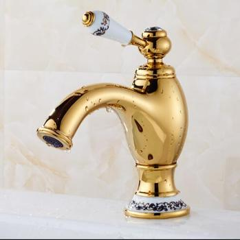 Golden brass faucet bathroom faucets single handle cold hot water tap mixer basin faucet