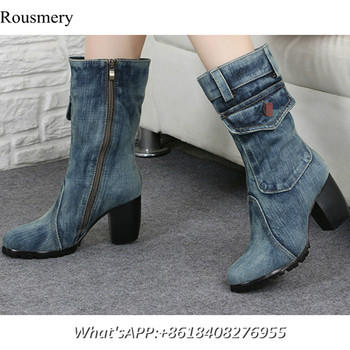 2017 Fashion Women Denim Boots Chunk Heels Canvas Shoes High Heels Martens Pocket Round Toe Shoes Women Zippers