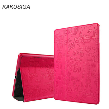 3D Embossing Case For Ipad Air 2 PU Leather Smart Case for iPad Air 2 in Unique Paris style Auto smart wake up KAKUSIGA Design