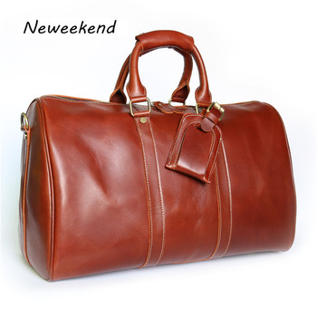 NEWEEKEND 9551 Vintage colorful Genuine Leather Oil Cowhide Anti-Scratch Big Travel Zipper Crossbody Luggage Bag Handbag for Man