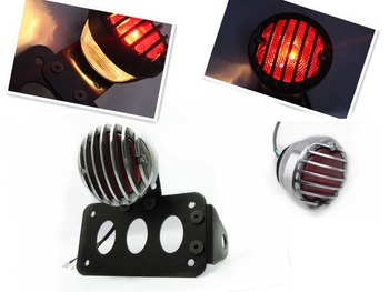 SILVER GRILL COVER BRAKE TAIL LIGHT + SIDE MOUNT LICENSE PLATE BRACKET FOR HARLEY SPORTSTER CHOOPER BOBBER XL CUSTOM