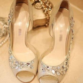 High heels Gold Rhinestone Shoes/wedding shoes for Bridal Shoes Bridemaid Dress Sandals Peep Toe Party Evening Shoes