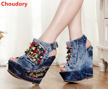 European fashion colorful beandings embroidered peep toe denim sandals buckle strap 12CM wedge heels summer sandal women heels
