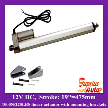 12v linear actuator with mounting brackets, 19inch/ 475mm stroke with 1000N/ 225lbs load electric linear actuators