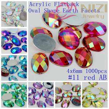 1000pcs 4x6mm Acrylic Crystal Flatback Oval Shape Earth Facets AB Colors Rhinestone For Nail Art 3D Jewelry Decorative Stones