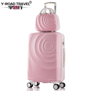 2PCS/SET Suitcase Set With 14inch Cosmetic bag, Universal wheel Trolley Case Travel Luggage Woman Rolling Suitcase With Wheel