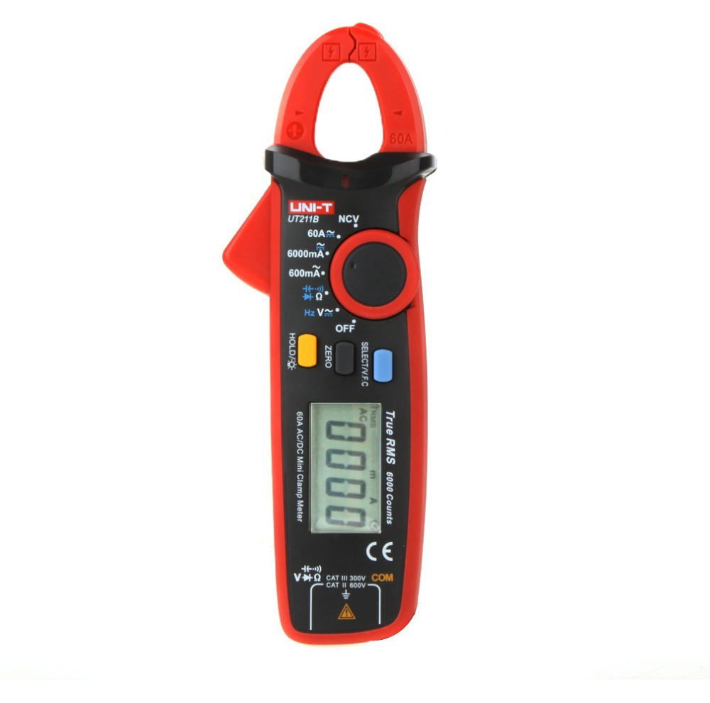 UNI-T UT211B LCD Multifunction High Sensitivity 60A High Resolution True RMS Clamp Meters W/ V.F.C. NCV Test & Zero Mode