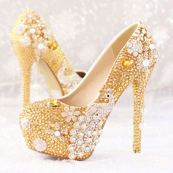 2016 new gold diamond flowers bridal shoes High with wedding photographs theatrical singles shoes Nightclubs Shoes