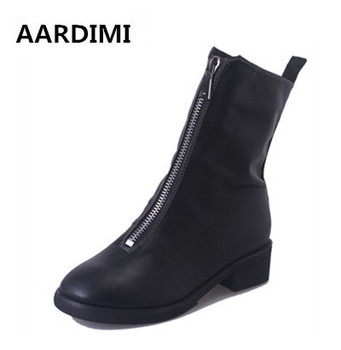 New designer 3 colors Zip mid-calf women's boots fashion autumn boots woman casual solid shoes ladies martins boots botas mujer