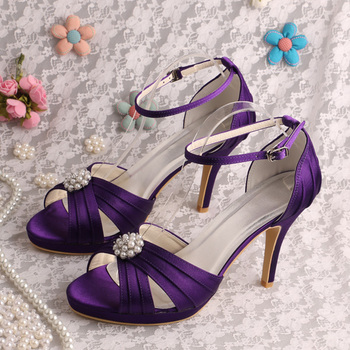 Wedopus New Style Sandals Platform High Heels Shoes Prom Sandals Purple Satin