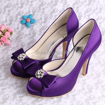 20 Colors)Custom to Make Brand Bowtie High Heels Purple Shoes Satin Wedding Party