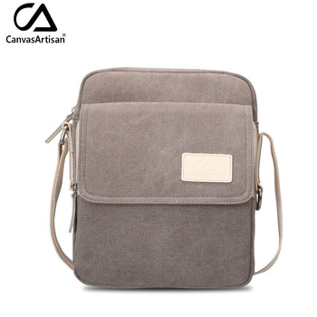 Canvasartisan top quality men's canvas messenger bag male business style leisure travel bag solid color crossbody shoulder bags