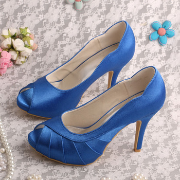 Dropshipping Peep Toe Platform Shoes Blue Satin Wedding Pumps