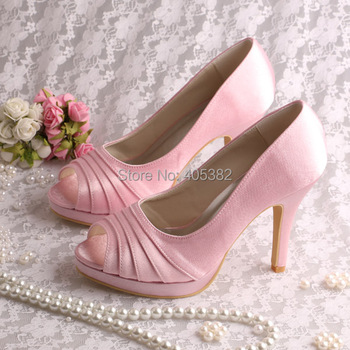 Wedopus MW1491 Women Purple Satin High Heel Bridal Wedding Shoes Peep Toe in Summer