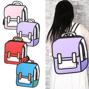 Women Funny Bag Cartoon Package 3D Three-dimensional Bag 2D Backpack New Fashion Popular