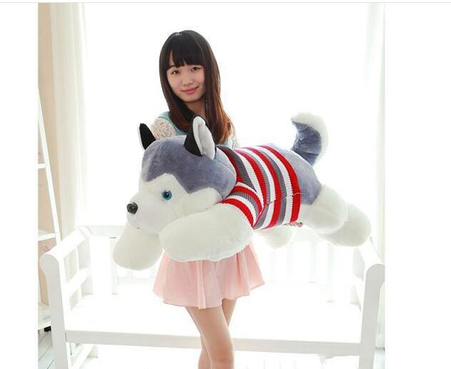 Fillings toy , large about 100cm sweater husky dog plush toy throw pillow toy birthday gift b4902