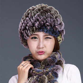 Rabbit Fur Hats For Women Winter 2016 New Fashion Natural Stripe Knitted Beanies Headwear Hats Caps Female Lady Genuine Fur Hat