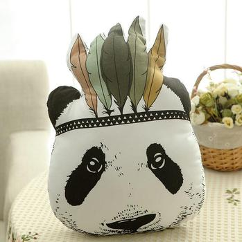 1pcs 25*38cm New Style Panda Head Plush Toys Soft Print Fabric Pillow Baby Bed Cushion Panda Cloth doll Children's Day Gift