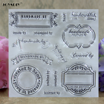 Handmade By Label Created by Label Scrapbook DIY photo cards account rubber stamp clear stamp transparent stamp 10.3*10.5 CM
