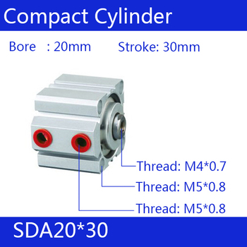 SDA20*30 20mm Bore 30mm Stroke Compact Air Cylinders SDA20X30 Dual Action Air Pneumatic Cylinder