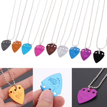 4Pcs/Lot Aluminium Alloy Electric Guitar Pick Pendant Necklace Chain Thickness 1.0mm Metal guitar picks Random Color