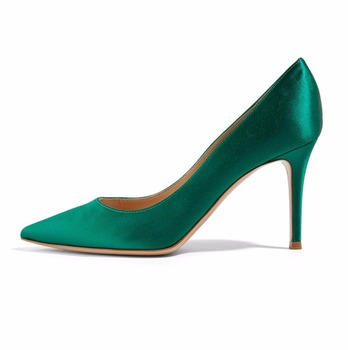 Women's 80mm Pointy Toe High Heels Pumps Satin Material Stiletto Heel Party Wedding Prom Plus Size Dress Shoes Two Colors