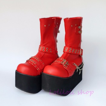 Princess sweet punk shoes loliloli yoyo Japanese design custom large-size bright red PU buckle strap mid-calf boots 4110
