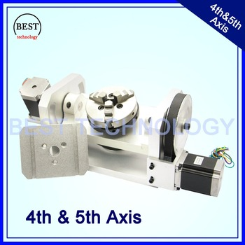 100mm CNC 4th Axis 5th Axis CNC dividing head/Rotation Axis/A axis kit Nema23 for Mini CNC router/engraver woodworking machine