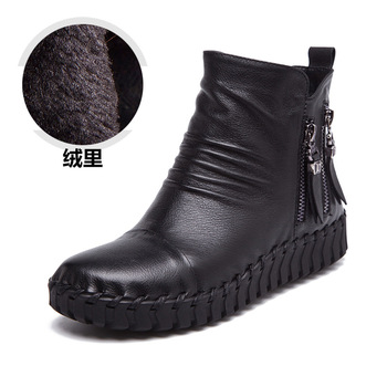 A67 Real Leather Women Boots 2016 New Fashion Soft Bottom Casual Shoes Double Zipper Tassel Winter Boots Plus Velet