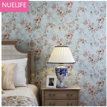 0.53x10m Retro American Non-woven Wallpaper European Pastoral Flower Pattern Bedroom Living Room Sofa TV Background Wallpaper N2